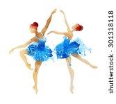 two watercolor ballerina...   Shutterstock .eps vector #301318118