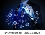 close up of businessman drawing ... | Shutterstock . vector #301333826