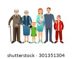 big happy family. father ...   Shutterstock . vector #301351304
