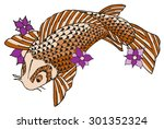 zentangle stylized koi fish ... | Shutterstock .eps vector #301352324