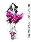 hand drawn fashion model. woman.... | Shutterstock .eps vector #301364048