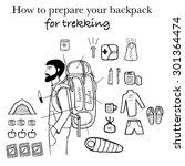 travel infographics. backpack... | Shutterstock . vector #301364474