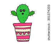 vector hand drawn kawaii cactus   Shutterstock .eps vector #301374203