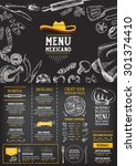restaurant cafe menu  template... | Shutterstock .eps vector #301374410