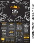 restaurant cafe menu  template... | Shutterstock .eps vector #301374410