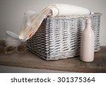 Wicker Basket With Linen ...