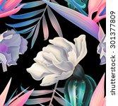seamless vintage cactus print... | Shutterstock . vector #301377809