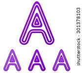 purple line a logo design set
