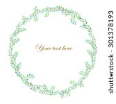wreath  frame  of branches with ... | Shutterstock . vector #301378193
