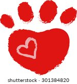 Dog Paw With Heart  Vector...