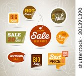 collection of autumn sales... | Shutterstock .eps vector #301391390