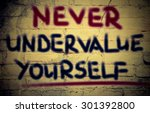 never undervalue yourself... | Shutterstock . vector #301392800