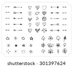 set of hand drawn black handle... | Shutterstock .eps vector #301397624