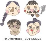 hand drawn cartoon face strange ... | Shutterstock .eps vector #301423328