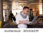 stylish man using smartphone in ... | Shutterstock . vector #301426259