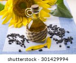 Постер, плакат: Sunflower oil with sunflower