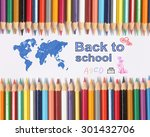colour pencils on white... | Shutterstock . vector #301432706