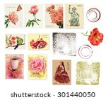 a set of postage stamps with... | Shutterstock . vector #301440050