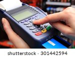 hand of woman using payment...   Shutterstock . vector #301442594