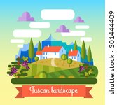 flat vector landscape tuscany... | Shutterstock .eps vector #301444409