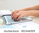 business woman hand typing on... | Shutterstock . vector #301446509