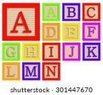 vector modern wooden alphabet... | Shutterstock .eps vector #301447670