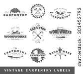 set of vintage labels carpentry.... | Shutterstock . vector #301453793