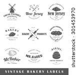 set of vintage bakery labels.... | Shutterstock . vector #301453970