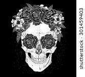 skull with flowers  rose in... | Shutterstock .eps vector #301459403