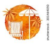 watercolor summer beach print.... | Shutterstock .eps vector #301464050