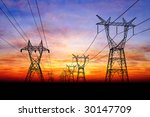 Electricity Pylons At Orange...