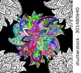 seamless floral vivid pattern... | Shutterstock .eps vector #301480640