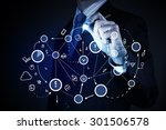 close up of businessman drawing ...   Shutterstock . vector #301506578
