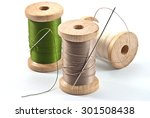 isolated wooden spool of thread ... | Shutterstock . vector #301508438
