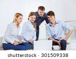 four co workers discussing... | Shutterstock . vector #301509338