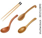 three wooden spoons and pair of ... | Shutterstock .eps vector #301512890
