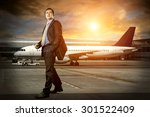 businessman with baggage in... | Shutterstock . vector #301522409