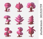 set of vector pink trees   Shutterstock .eps vector #301523759