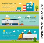 production process with factory ... | Shutterstock .eps vector #301528970
