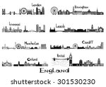 silhouette sights of 8 cities... | Shutterstock .eps vector #301530230