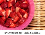 Strawberries In A Bowl Cut Into ...
