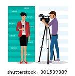 cameraman filming a reporter  | Shutterstock .eps vector #301539389
