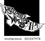flying eagle with hand drown... | Shutterstock .eps vector #301547978