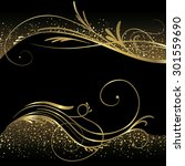 black and gold background | Shutterstock .eps vector #301559690