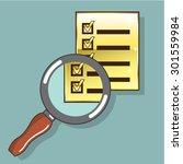 golden checklist magnifying... | Shutterstock .eps vector #301559984