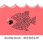 little fish eat big fish. unity ... | Shutterstock .eps vector #301565129