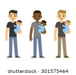 cartoon fathers holding baby... | Shutterstock . vector #301575464