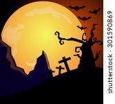 halloween night  black castle... | Shutterstock .eps vector #301590869