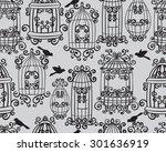seamless set birdcages with... | Shutterstock .eps vector #301636919