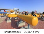 oil field scene  oil pipelines... | Shutterstock . vector #301645499